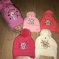 Детская зимняя шапочка с кошечкой