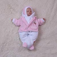 Утепленный велюровый комбинезон 0-3 мес Little beauty (розовый) на махре