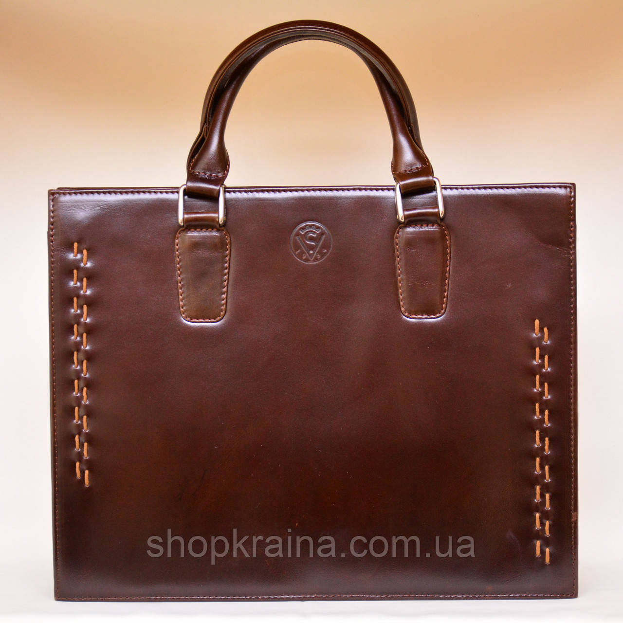 Портфель деловой VS124 brown leather 38х30х7  см