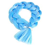 Канекалон однотонный голубой 130/65 см