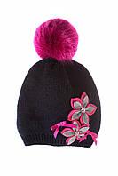 Зимняя шапка для девочки с ярким помпоном, MARIKA (Польша) 2180