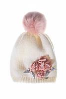 Нежная детская шапочка для девочки молочного цвета, MARIKA (Польша) 2175