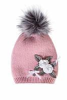 Нежная детская шапочка для девочки розового цвета, MARIKA (Польша) 2174