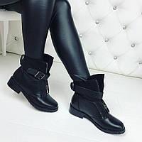 Женские зимние ботиночки чёрные прессованной кожи