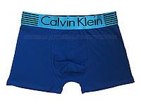 Мужские трусы боксёры Calvin Klein  удлинённые синие с голубым поясом