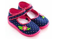 Тапочки-мокасины  для девочек  25 (16,0 см)  Zetpol Марлена  синие в горошек , фото 1