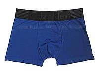 Мужские трусы боксёры Calvin Klein  удлинённые синие с чёрным поясом