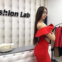 Платье красное с воланами