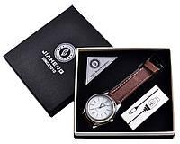 Usb зажигалка Наручные часы, серебро коричневый ремешок, спираль накаливания