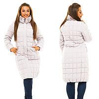 Женская куртка удлиненная на молнии с отстегивающимся воротником