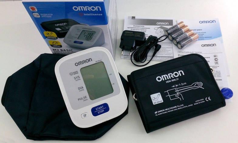 Автоматический тонометр Omron M2 BASIC с веерообразной манжетой 22-42 см и адаптером сети HEM 7121–ALRU, фото 2