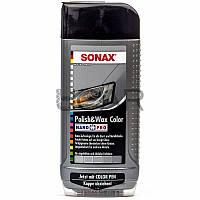 Sonax 296300 Polish&Wax Color Серая цветная полироль с воском + карандаш, 500 мл