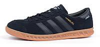 Кроссовки мужские Adidas Hamburg Gore-Tex Dark Blue замшевые темно-синие, Синий, 42 , фото 1