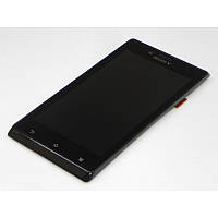 Дисплей Sony Xperia J ST26i complete with touch and frame Black