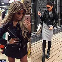 Женская короткая кожаная куртка косуха черного цвета.  Арт - 18080