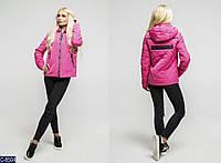 """Лаковая женская куртка """"Philipp Plein"""" со съемным капюшоном малинового цвета.  Арт - 18084"""