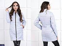 Женская куртка Moncler из водоотталкивающей ткани серо-голубого цвета.  Арт - 18085