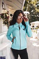 Короткая стрейчевая женская куртка из итальянской экокожи голубого цвета.  Арт - 18091