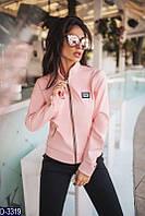 Короткая стрейчевая женская куртка из итальянской экокожи розового цвета.  Арт - 18091