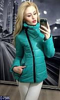 Демисезонная короткая женская куртка  косая молния цвета мята.  Арт - 18095