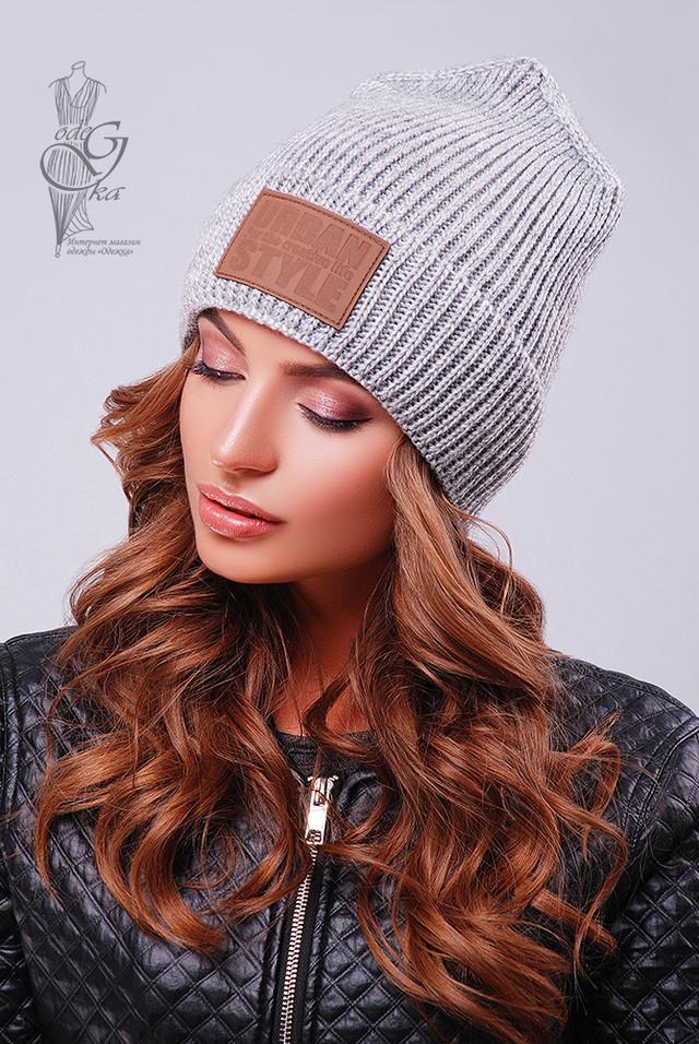 Серый цвет Вязаных женских шапок Стайл
