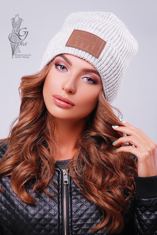 Цвет светло-серый Вязаных женских шапок Стайл