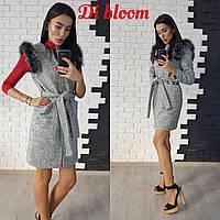 Женское стильное пальто-трансформер из букле с  мехом из натурального песца