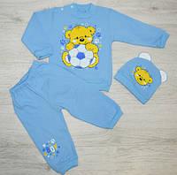 Детский теплый комплект с начесом: кофта, штанишки и шапочка