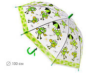 Зонтик детский прозрачный, трость полуавтомат Лягушки