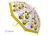 Зонтик детский прозрачный, трость полуавтомат Пчелки