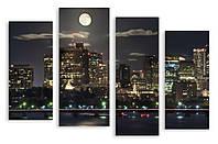 Модульная картина луна и вечерний город