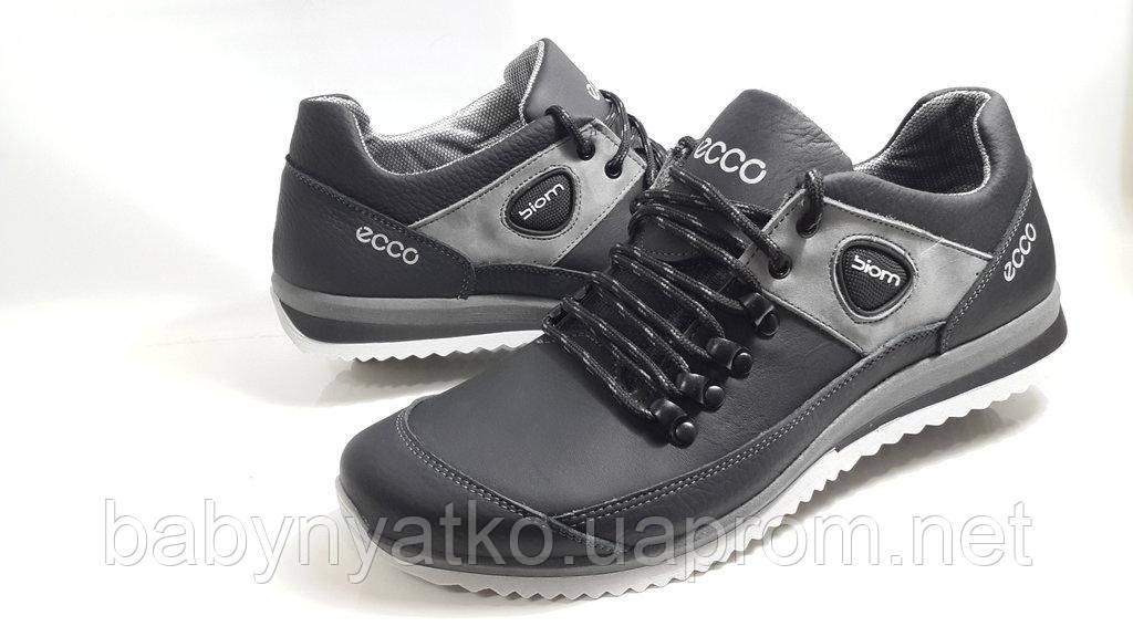 a2cdf145939589 Качественные кроссовки Ecco model E21 из натуральной кожи чёрные с серым р.  40-45