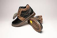 Ботинки мужские кожаные с оливковыми вставками