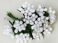 """""""Тычинки в сахаре"""" белые, искусственных на розетке листьев (1 набор - 12 веточек ), фото 1"""