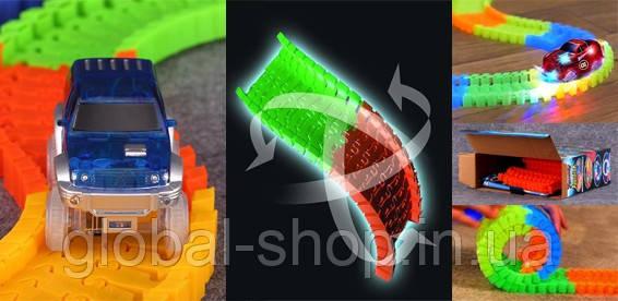 Детская игрушечная дорога - конструктор Magic Tracks 165 деталей, Светящаяся гибкая гоночная  (Мэджик Трек)
