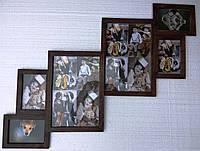 Деревянная эко мультирамка, коллаж #506 тёмный орех, белый, венге, чёрный., фото 1