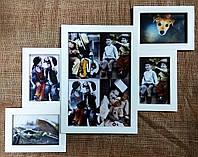 Деревянная эко мультирамка, коллаж № 305 белый, венге, орех, чёрный.., фото 1