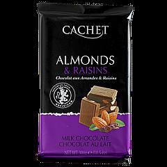 Шоколад CACHET Almonds and raisins 300г Миндаль и изюм