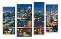 Модульная картина мост в мегаполисе