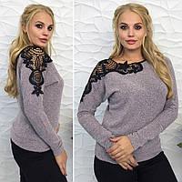 Красивый женский свитер нарядная кофточка с кружевом макраме батал больших размеров пудра 48 50 52 54