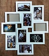 Деревянная эко мультирамка, коллаж №310 белый, венге, орех, чёрный.