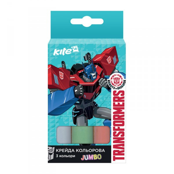 Мел цветной Kite Jumbo Transformers TF17-077, 3 шт.