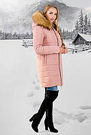 Зимняя куртка Флорида розовая бежевый мех (44-54)