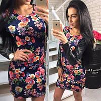 Женское стильное платье принт цветы