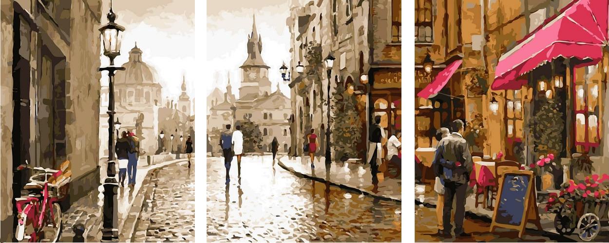 Картины по номерам 50х150 см. Триптих Амстердам Художник Ричард Макнейл