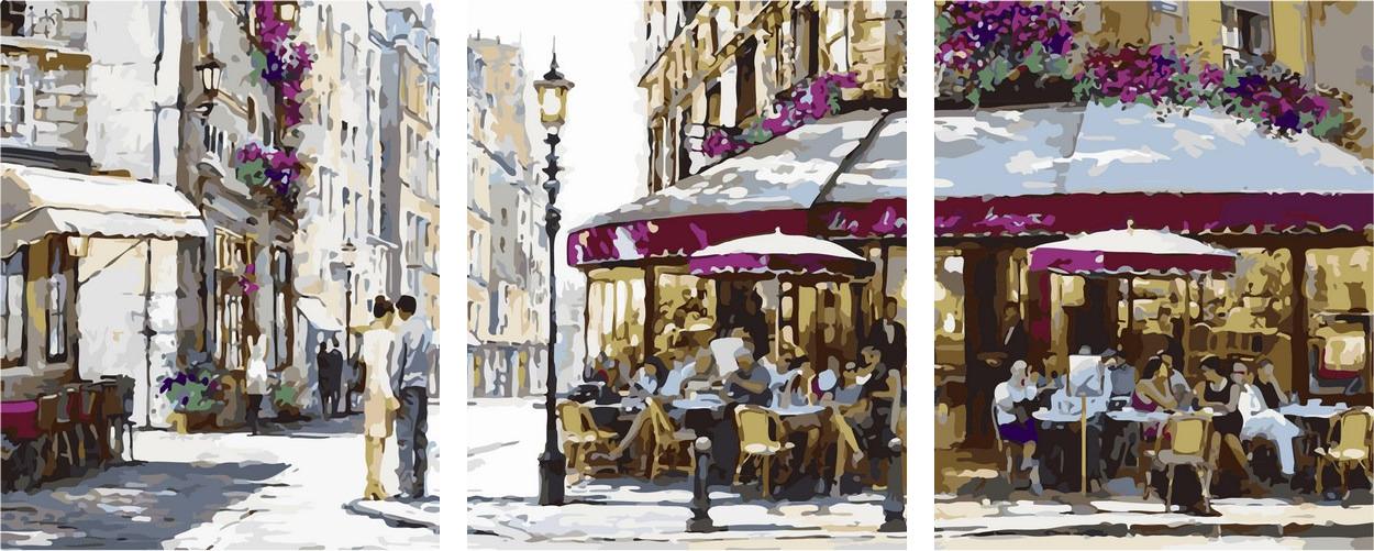 Рисование по номерам 50х150 см. Триптих Парижское кафе Художник Ричард Макнейл