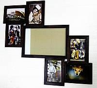 Деревянная эко мультирамка, коллаж №107-1 венге, орех, белый, чёрный.