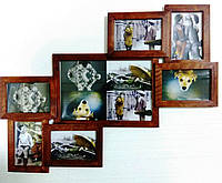 Деревянная эко мультирамка, коллаж №207  орех, венге, белый, чёрный.