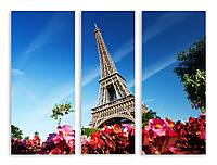 Модульная картина цветы и Эйфелева Башня