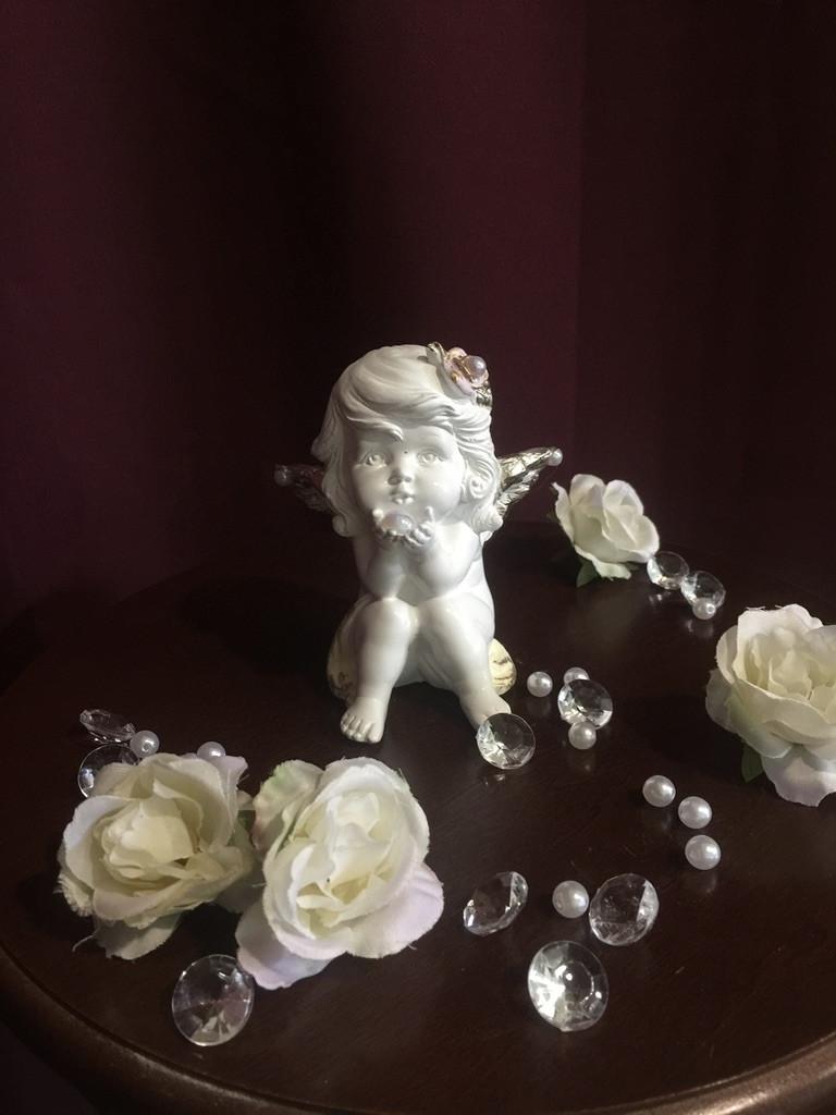 Ангел гипсовый Девочка с жемчужиной пастель